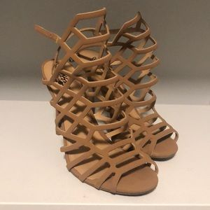 Mossimo nude caged heels